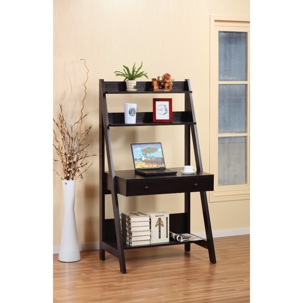 Shop Contemporary Style Ladder Desk With 3 Open Shelves Free