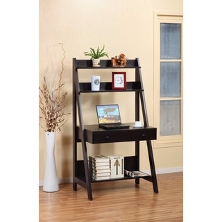 Contemporary Style Ladder Desk With 3 Open Shelves.