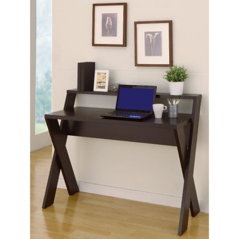 Ladder Desk With 1 Open Shelves, Dark Brown