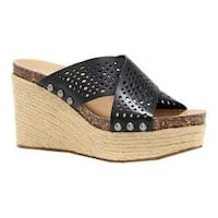 Women's Lucky Brand Neeka Slide Wedge Sandal Black Perforated Leather