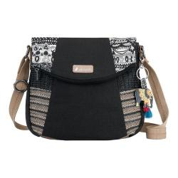 Women's Sakroots Artist Circle Fold Over Crossbody Black and White One World