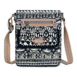 Women's Sakroots Artist Circle Small Flap Messenger Bag Black and White One World