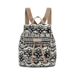Women's Sakroots Metro Mini Flap Backpack Black And White One World/Antique Silvertone