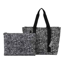 Women's Sakroots New Adventure Finch Large Tote Black And White Spirit Desert
