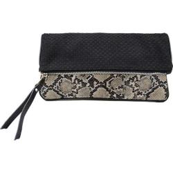 Women's Bernie Mev BM12 Top Zip Foldover Clutch Snake Faux Leather/Black