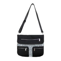 Women's Bernie Mev BM15 Multi Pocket Messenger Bag Black Neoprene/News