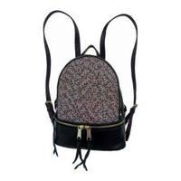 Women's Bernie Mev BM34 Medium Backpack Black Nylon/Leather/Endure