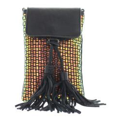 Women's Bernie Mev BM40 Cellphone Crossbody Tassle Bag Black Leather/Plasma