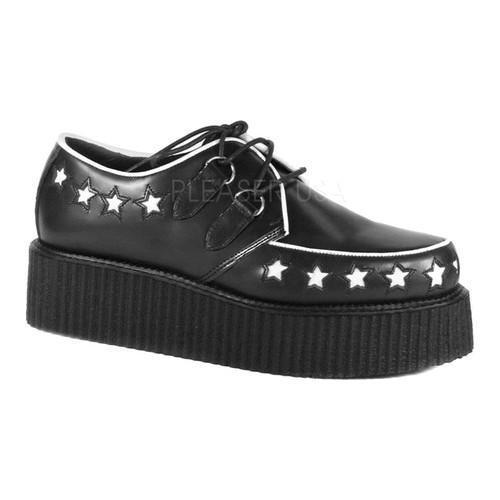 Men's Demonia Creeper 416 Oxford Black Leather/White Stars