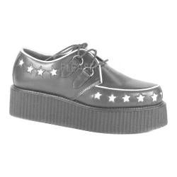 Men's Demonia Creeper 416 Oxford Black Leather/White Stars