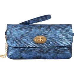 Women's Mellow World Layla Snakeskin Embossed Clutch Small Metallic Blue