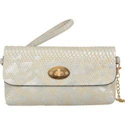 Women's Mellow World Layla Snakeskin Embossed Clutch Small Metallic Pearl
