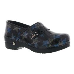 Women's Sanita Clogs Star Professional Closed Back Clog Blue Printed Patent Leather