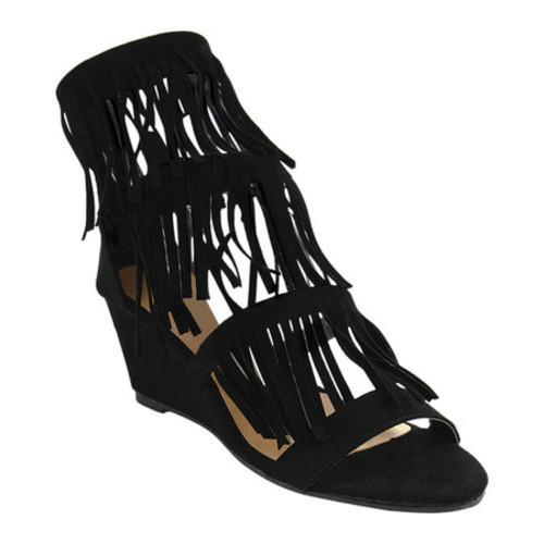 f354dd445490 Shop Women s Beston Virginia-02 Fringe Wedge Sandal Black Faux Suede - Free  Shipping On Orders Over  45 - Overstock - 16331363