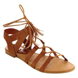 Women's Beston Dock-02 Gladiator Sandal Tan Faux Leather