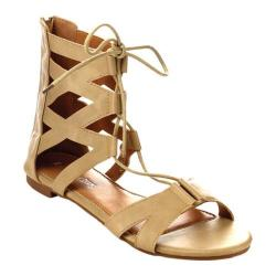 Women's Beston Dock-03 Gladiator Sandal Beige Faux Leather