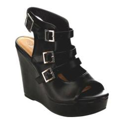 Women's Beston Penny-03 Strappy Wedge Sandal Black Faux Leather