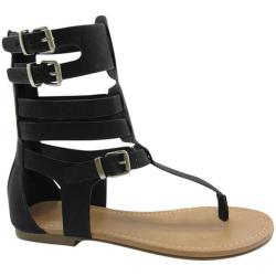Women's Beston Ronald-S Gladiator Sandal Black Faux Leather