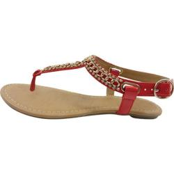 Women's Beston Soro-S Thong Sandal Red Patent Faux Leather