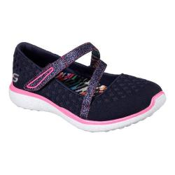 Girls' Skechers Microburst One Up Mary Jane Navy/Hot Pink