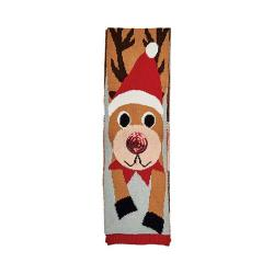 Women's San Diego Hat Company Reindeer Scarf with Sequins Red Nose BSS1691 Reindeer