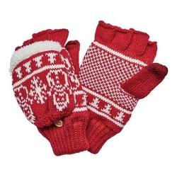 Women's San Diego Hat Company Snowman Pattern Pop Over Fingerless Glove KNG3476 Red