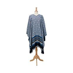 Women's San Diego Hat Company Woven Patterned Poncho with Stripe Hem BSP3541 Navy