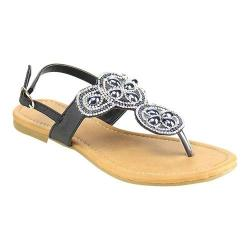 Women's Wild Diva Plum-SU Thong Sandal Black Faux Leather