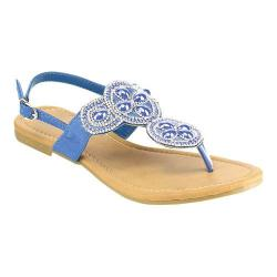 Women's Wild Diva Plum-SU Thong Sandal Blue Faux Leather