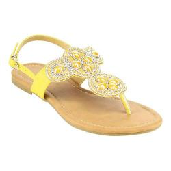 Women's Wild Diva Plum-SU Thong Sandal Yellow Faux Leather