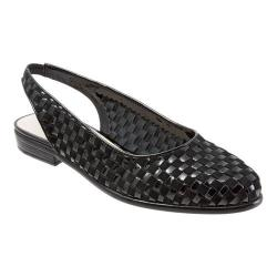 Women's Trotters Lucy Woven Slingback Black Suede/Patent