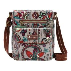 Women's Sakroots Artist Circle Small Flap Messenger Bag Charcoal Spirit Desert
