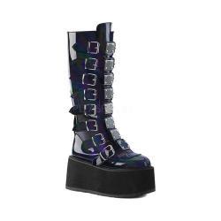 Women's Demonia Damned 318 Knee-High Platform Buckle Boot Black Hologram