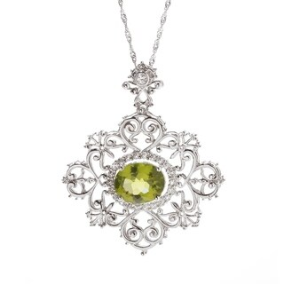 Sterling Silver Natural Peridot and White Topaz 4.72 CTW Halo Swirl Pendant Necklace with 18 inch Chain