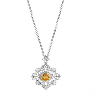 Sterling Silver Natural Citrine and White Topaz 4.28 CTW Halo Swirl Pendant Necklace with 18 inch Chain