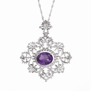 Sterling Silver Natural Amethyst and White Topaz 4.1 CTW Halo Swirl Pendant Necklace with 18 inch Chain