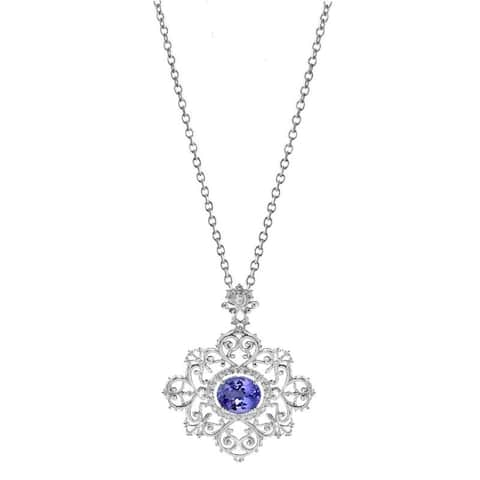 Sterling Silver Blue Topaz and White Topaz 3.45 CTW Halo Swirl Pendant Necklace with 18 inch Chain