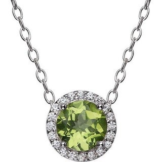 "Sterling Silver With Choice of Gemstone Halo Pendant Necklace with 18"" Chain"