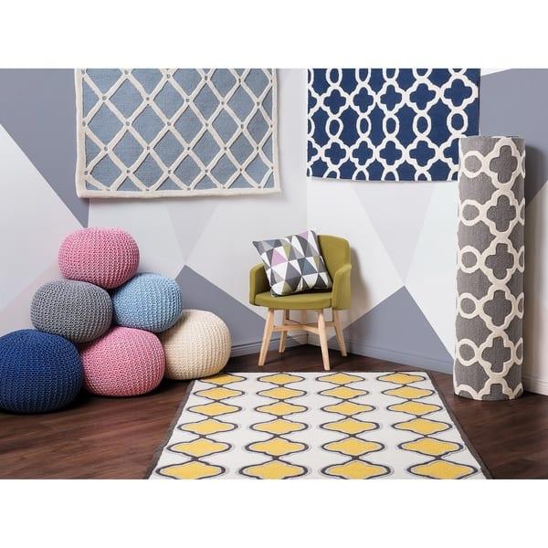 Tremendous Shop Pouf Ottoman Light Blue Conrad 16 Free Shipping Machost Co Dining Chair Design Ideas Machostcouk
