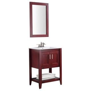 ANZZI Mosset 24 in. W x 34 in. H Red Cherry Single Sink Vanity Set
