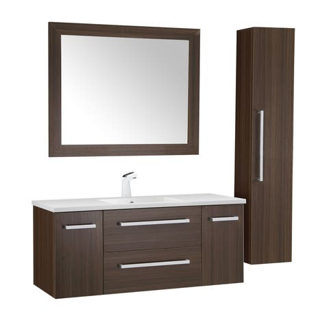 ANZZI Conques 48 in. W x 20 in. H Bathroom Vanity Set in Rich Brown