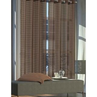 "Dainty Home New Elena Grommet Plaid Sheer Curtain Panel Pair - 54"" w x 84"" l"