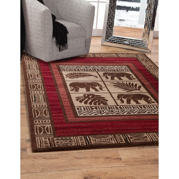 Calam Beige Chocolate Red Area Rug By Greyson Living 7 X27