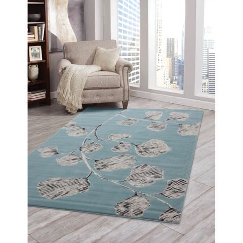 "Holly Teal/Lt. Grey/Ivory Olefin Area Rug by Greyson Living - 5'3"" x 7'9"""