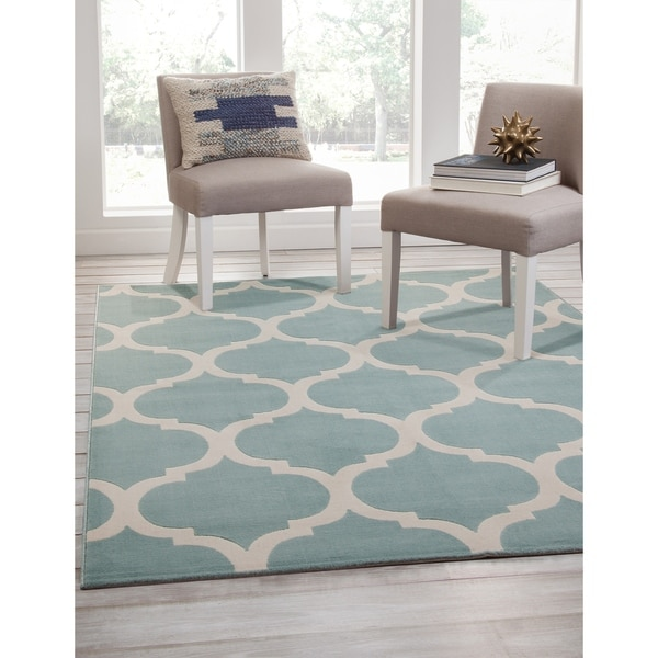 Salma Teal and Ivory Area Rug by Greyson Living - 7'9 x 10'6