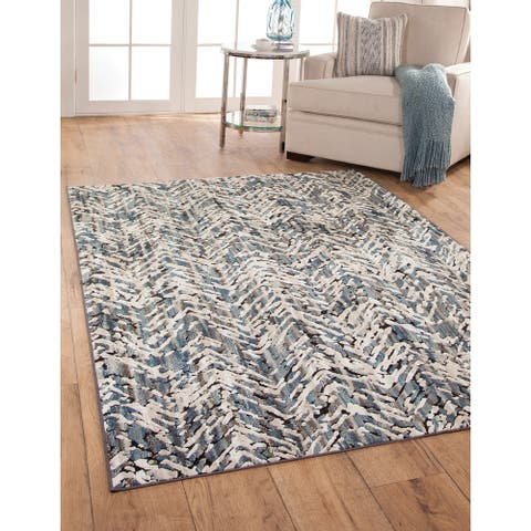 Holden Blue/Ivory/Natural Chenille/ Viscose Area Rug by Greyson Living