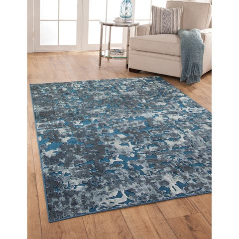"Greyson Living Abigale Blue/Ivory Viscose Chenille Area Rug - 5'3"" x 7'9"""