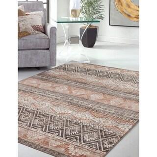 Greyson Living Perle Geometric Brown/Multicolored Viscose/Jute/Fabric Indoor Rectangular Area Rug (5'3 x 7'6)