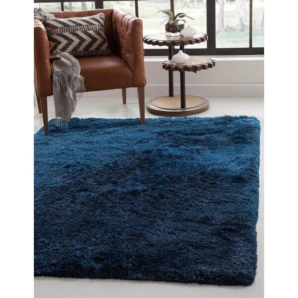 Brilliance Blue Shag Area Rug by Greyson Living - 5' x 8'