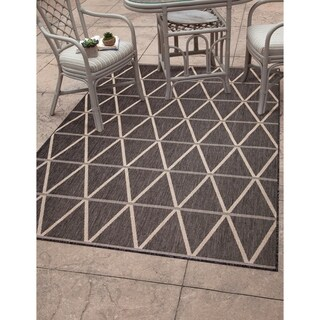 Greyson Living Lanai Charcoal/Natural Olefin Indoor/Outdoor Area Rug (7'9 x 10'6)
